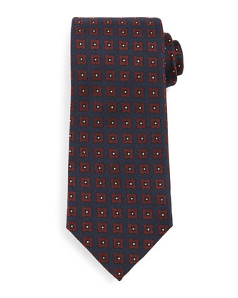 Star-Medallion Silk Tie, Blue