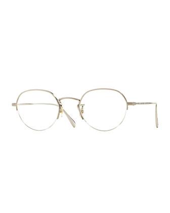 Roland 47 Round Fashion Glasses, Brushed Silver
