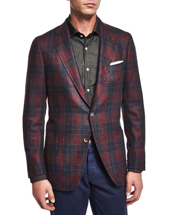 Plaid Cashmere-Blend Sport Coat, Navy