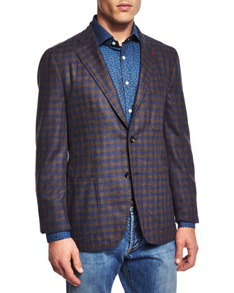 San Servo Check Two-Button Sport Coat, Brown/Blue