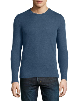 Cotton/Cashmere Long-Sleeve Crewneck Sweater, Blue