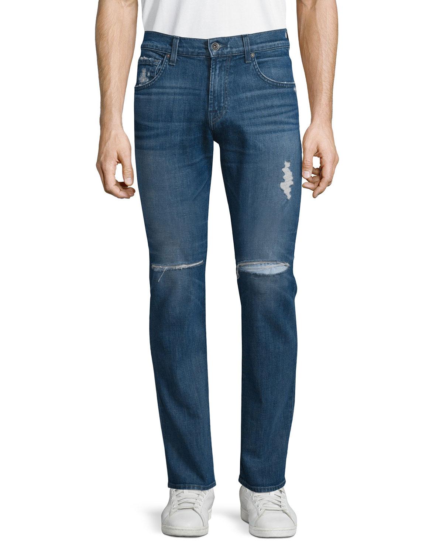 Paxtyn Destroyed Denim Jeans, Medium Blue, Men's, Size: 38 - 7 For All Mankind