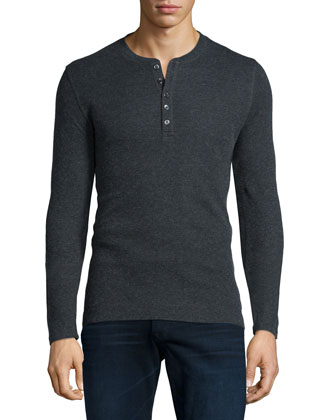 Cotton/Cashmere Long-Sleeve Henley Shirt, Charcoal