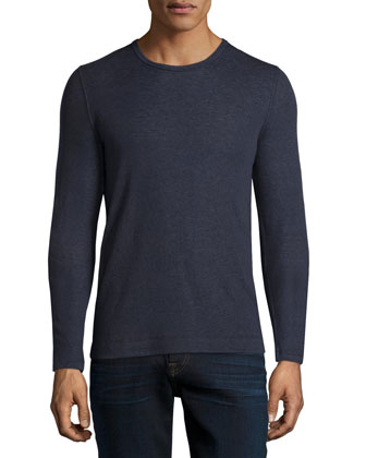 Cotton/Cashmere Crewneck Sweater, Navy