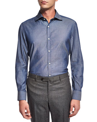 Washed Long-Sleeve Shirt, Blue