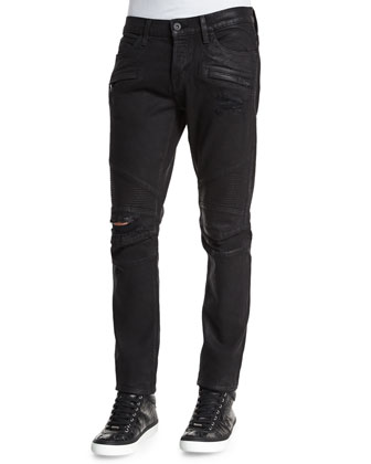 Blinder Biker Astral Distressed Moto Jeans, Black