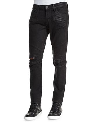 Blinder Biker Astral Distressed Moto Jeans, Black