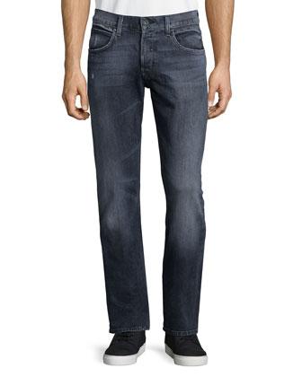 Byron Straight-Leg Denim Jeans, Medium Gray