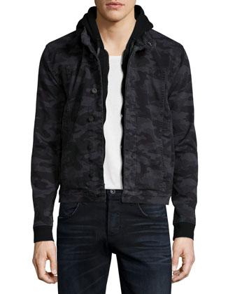 Nata Camo-Print Hooded Moto Jacket, Green