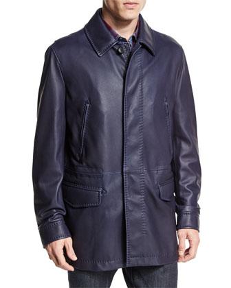 Leather Car Coat, Navy