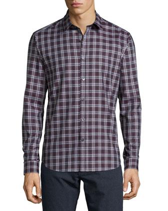 Zack PS Dovercourt Check Sport Shirt, Wine