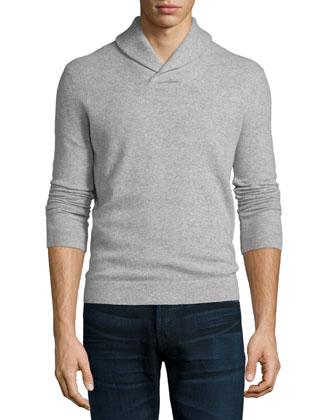 Lauben Cashmere Long-Sleeve Sweater, Light Gray