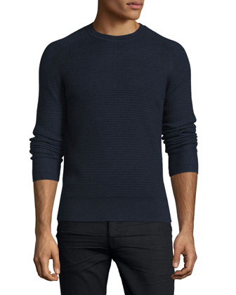 Aster Textured Wool Sweater, Navy