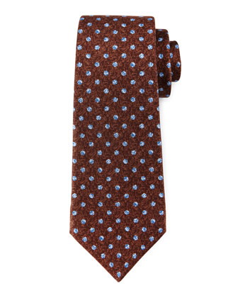 Heathered Dot-Print Silk Tie, Brown/Navy