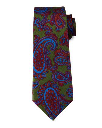 Paisley-Print Silk Tie, Burgundy/Orange