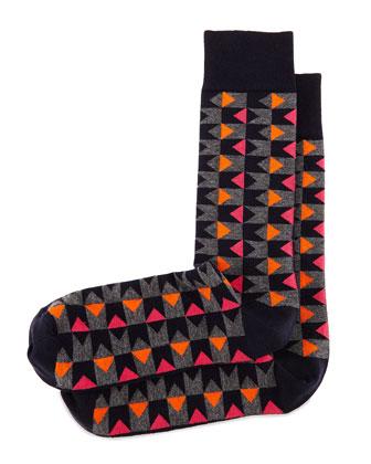 Bow Tie Graphic-Print Socks, Navy/Orange/Fuchsia