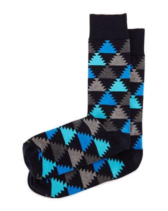 Aztec-Print Knit Socks, Blue