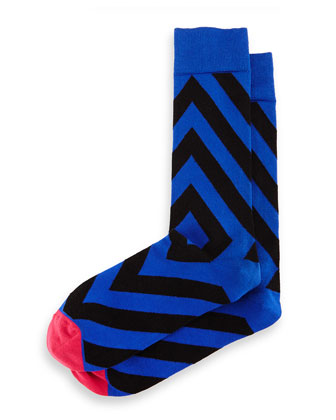 Directional-Stripe Knit Socks, Royal Blue/Black