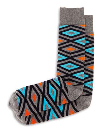 Diamond-Print Knit Socks, Gray/Turquoise/Orange