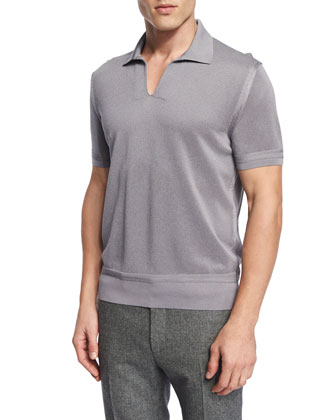 Textured Johnny-Collar Short-Sleeve Shirt, Gray
