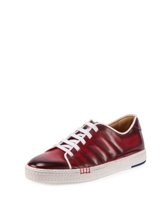 Playfield Side-Stitch Leather Sneaker, Red