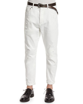 Five-Pocket Distressed Denim Jeans, Off White