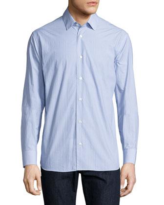 Small Gancini-Print Long-Sleeve Sport Shirt, Light Blue