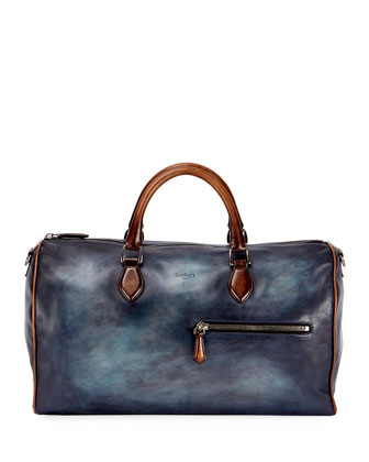 Small Leather Duffle Bag, Indigo Denim