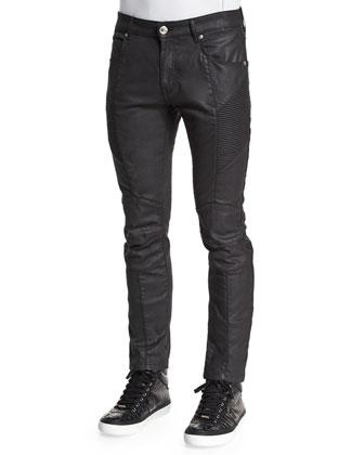 Coated Moto Denim Jeans, Black