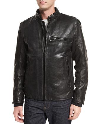Chiswick Supple Leather Moto Jacket, Black