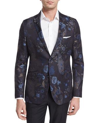 Degrade Herringbone Two-Button Jacket, Blue