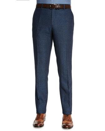 Herringbone Flat-Front Pants, Blue