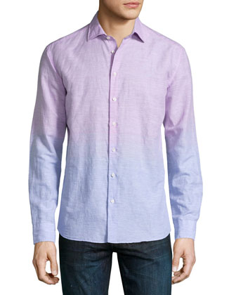 Degrade Linen Long-Sleeve Shirt, Multi