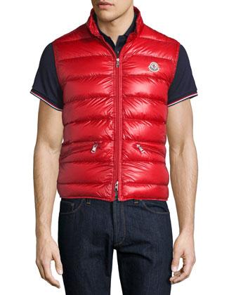 Gui Nylon Puffer Vest, Red
