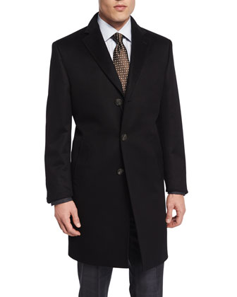 Cashmere Three-Button Long Coat, Black