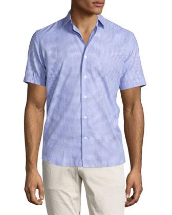 Gingham Short-Sleeve Shirt, Light Blue/Pink