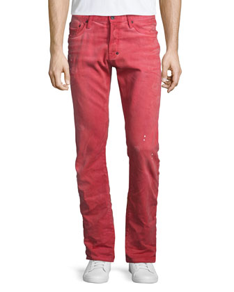 Demon Distressed Denim Jeans, Red