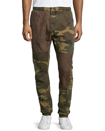 Camo-Print Twill Jogger Pants, Green
