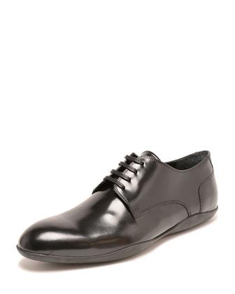 Duncan Leather Lace-Up Loafer, Black/Blue