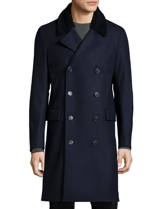 Kenri Voedar Double-Breasted Coat with Shearling Fur Collar, Navy