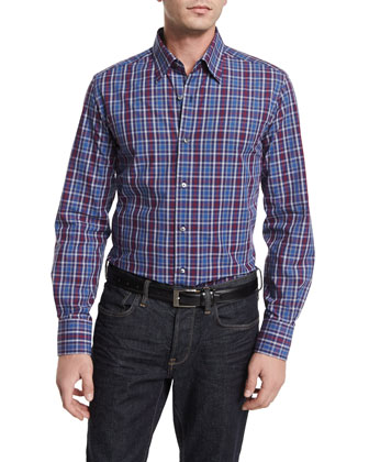 Plaid Long-Sleeve Sport Shirt, Blue/Gray/Cranberry