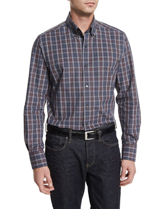 Melange Plaid Long-Sleeve Sport Shirt, Dark Gray/Chocolate