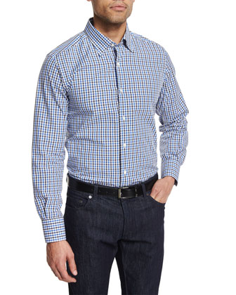 Check Long-Sleeve Sport Shirt, White/Blue/Gray