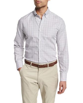 Graph-Check Long-Sleeve Sport Shirt, White/Navy/Gray/Burgundy