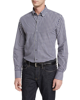 Small Check Long-Sleeve Sport Shirt, Blue/Gray