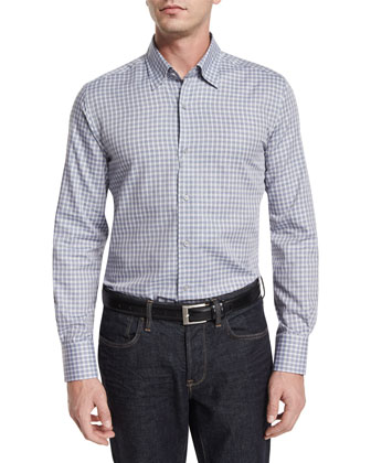Plaid-Check Long-Sleeve Sport Shirt, White/Blue/Gray