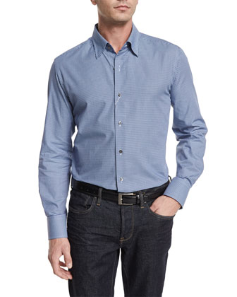 Micro-Check Long-Sleeve Sport Shirt, Blue