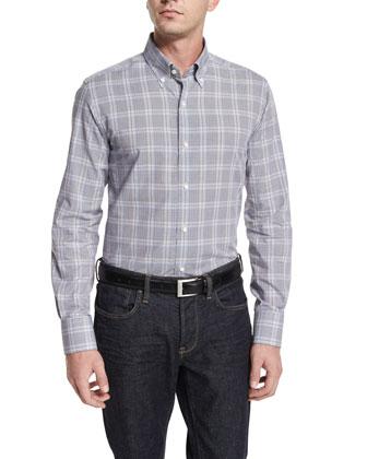 Tight-Check Long-Sleeve Sport Shirt, White