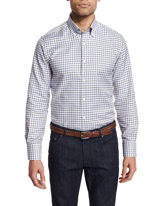 Dashed-Check Long-Sleeve Sport Shirt, White