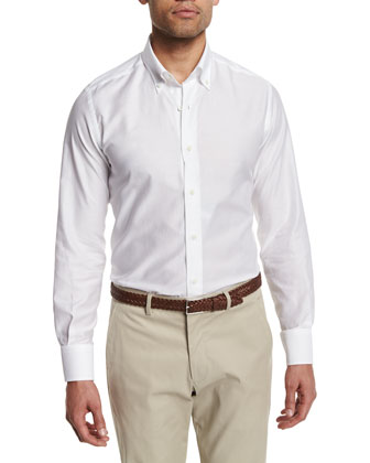 Solid Twill Long-Sleeve Sport Shirt, White